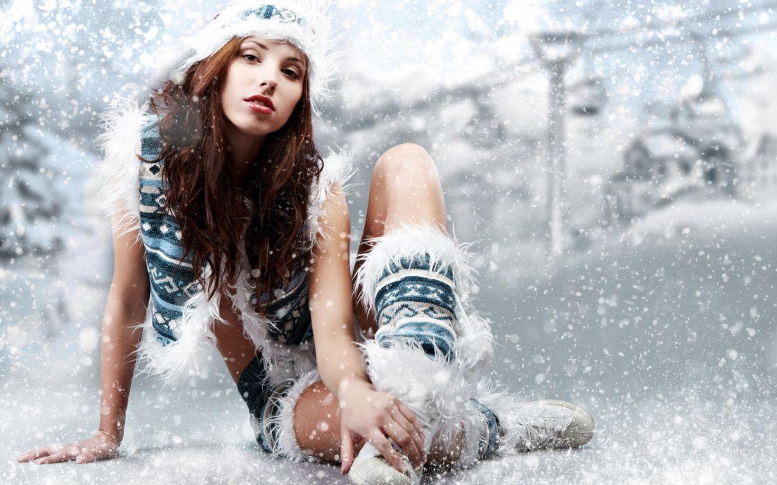 women females girls models babes style sensual sexy legs winter snowing snowflakes ski boots seasonal wallpaper
