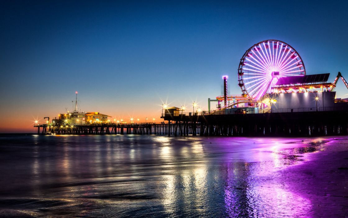 santa-monica santa monica seascape ocean sea nature beaches sand waves reflection water wet foam sunset skies colors amusement park places pier dock rides ferris wheel architecture buildings neon lights night dusk evening world wallpaper