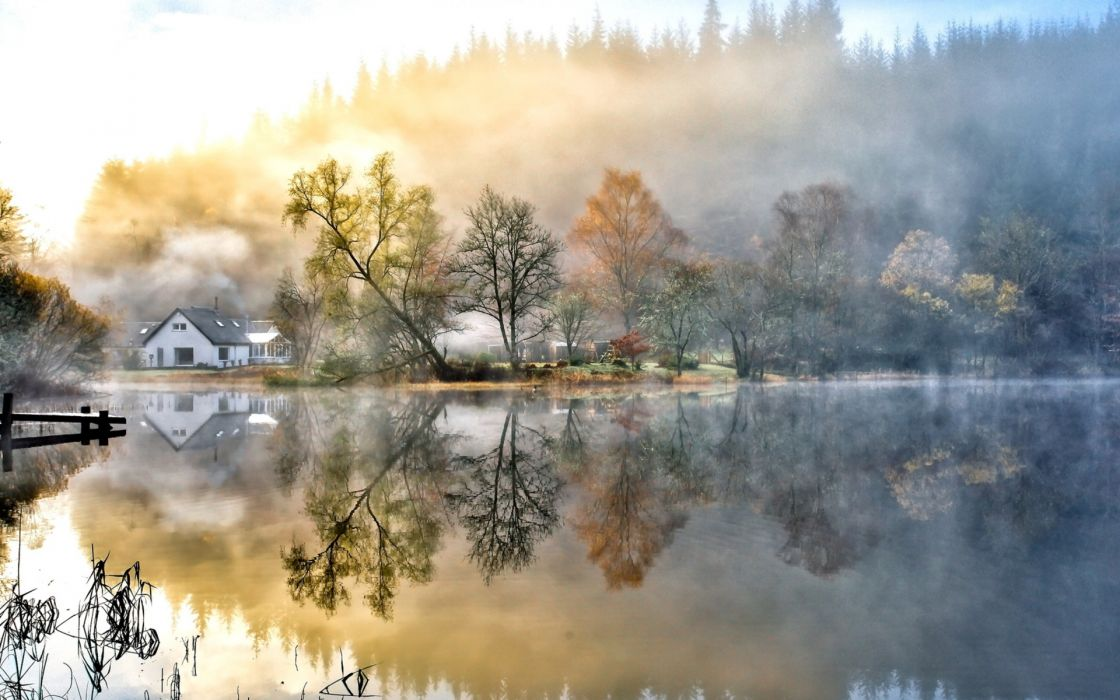 nature landscapes lakes water reflection glass shine fog mist haze autumn fall seasons hills trees forest sunrise morning shore pier dock architecture buildings houses scenic wallpaper