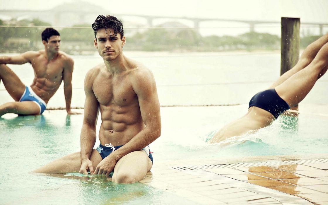 men males hunks handsome muscles fitness pool swimming swimwear water splash drops people sexy sensual models fashion style wallpaper