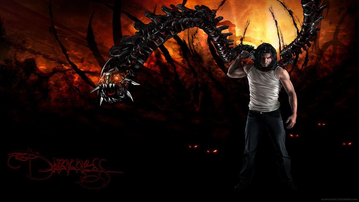 the-darkness darkness dark games video-games evil demon fantasy comics fire flames mech mecha tech technology mechanical men amles warriors sci-fi wallpaper