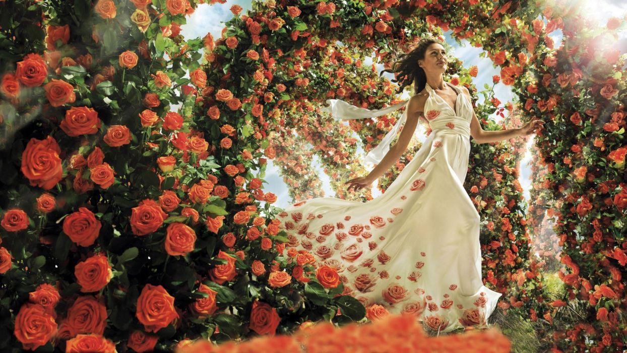 manipulation cg digital digital-art_flowers roses red women females girls models fashion style sensual gown holidays valentines wallpaper