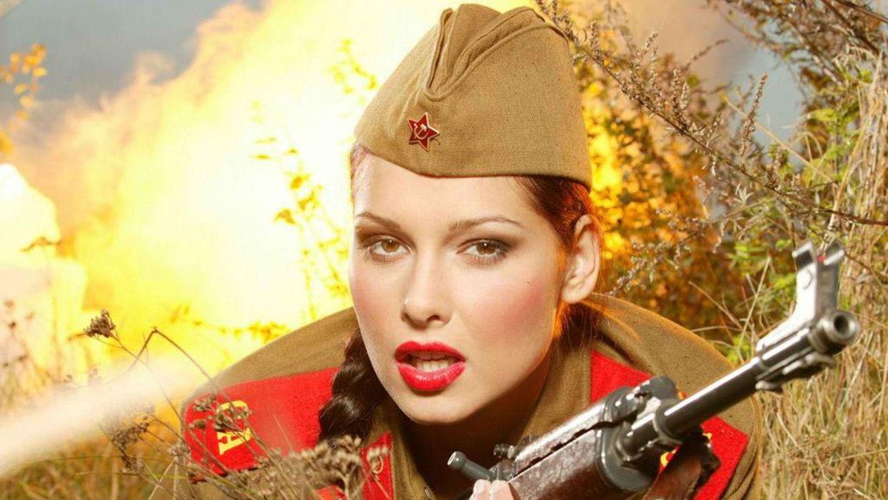 military russia russian weapons guns rifles ak ak-47 ak47 women females girls babes sensual faces lips eyes uniforms hat wallpaper