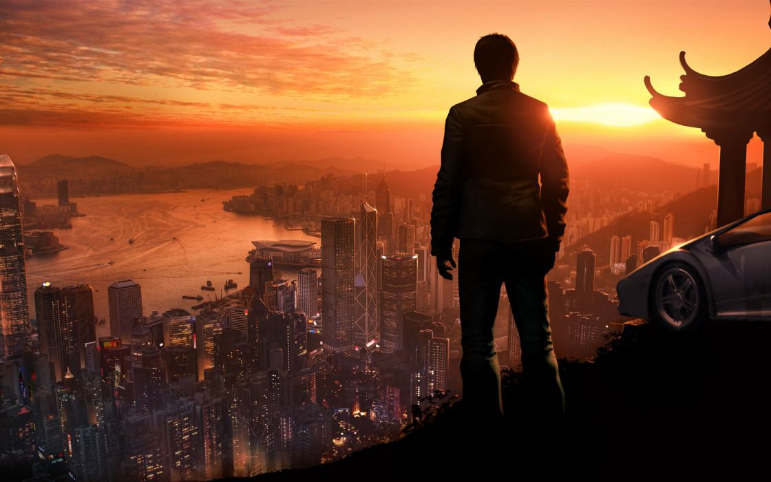 sleeping-dogs sleeping dogs games video-games people men males cities cityscape sunset sunrise rivers wallpaper