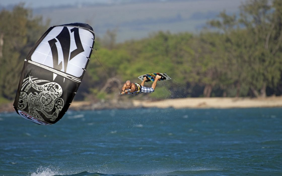 windsurfing surfing surf parachute ocean sea nature water men males swimwear beaches shore coast fun extreme wallpaper