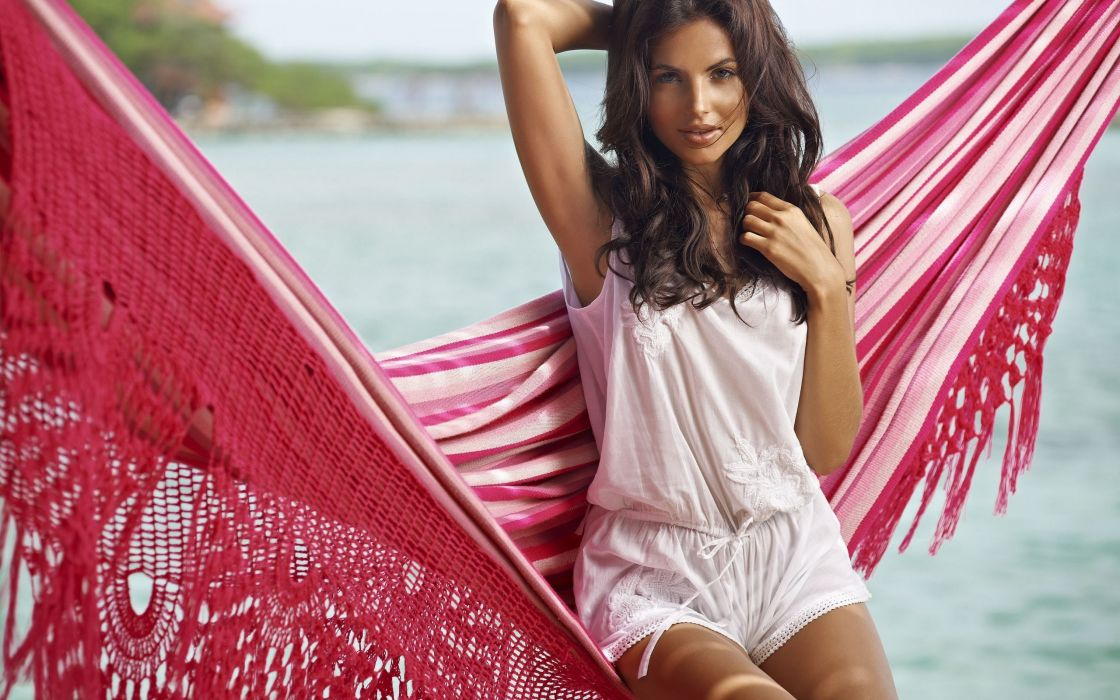 Diana-Morales Diana morales women females girls babes models style fashion swimwear hammock tropical sexy sensual brunette wallpaper