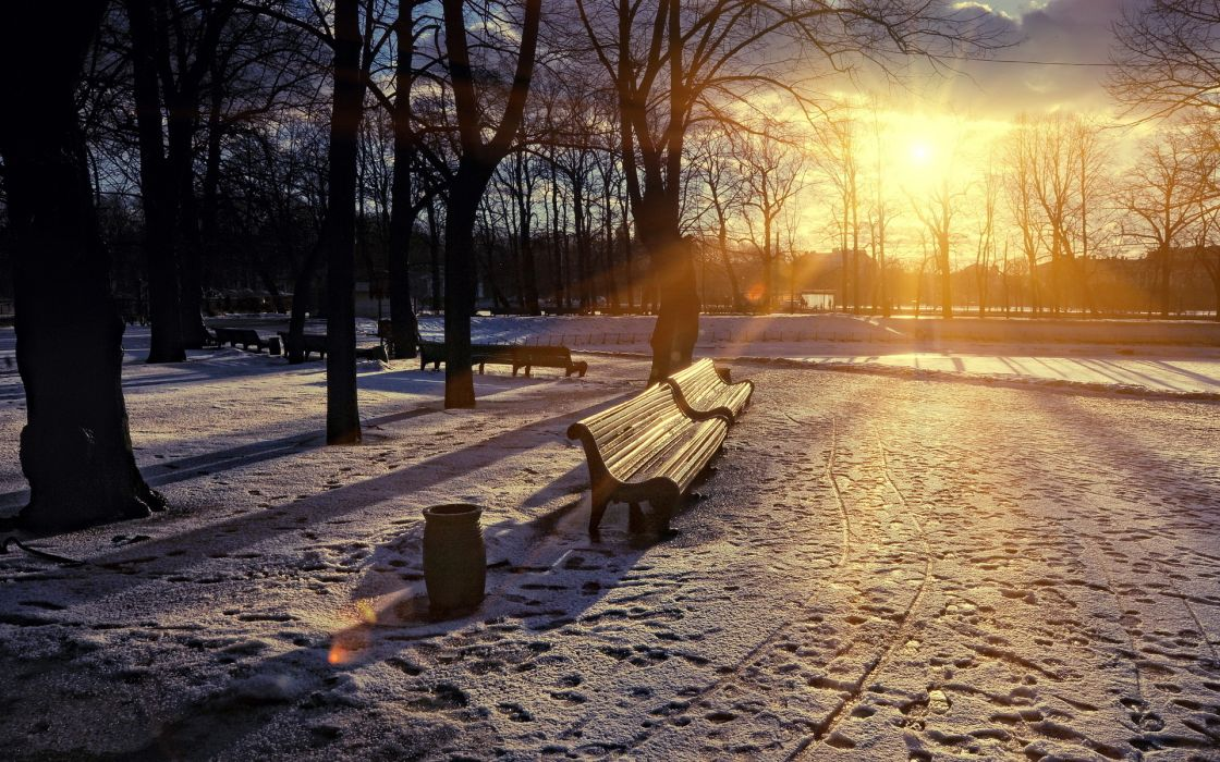 nature landscapes winter snow seasons sunrise sunset sun sunlight sunbeams sky skies clouds park bench trees shine wallpaper