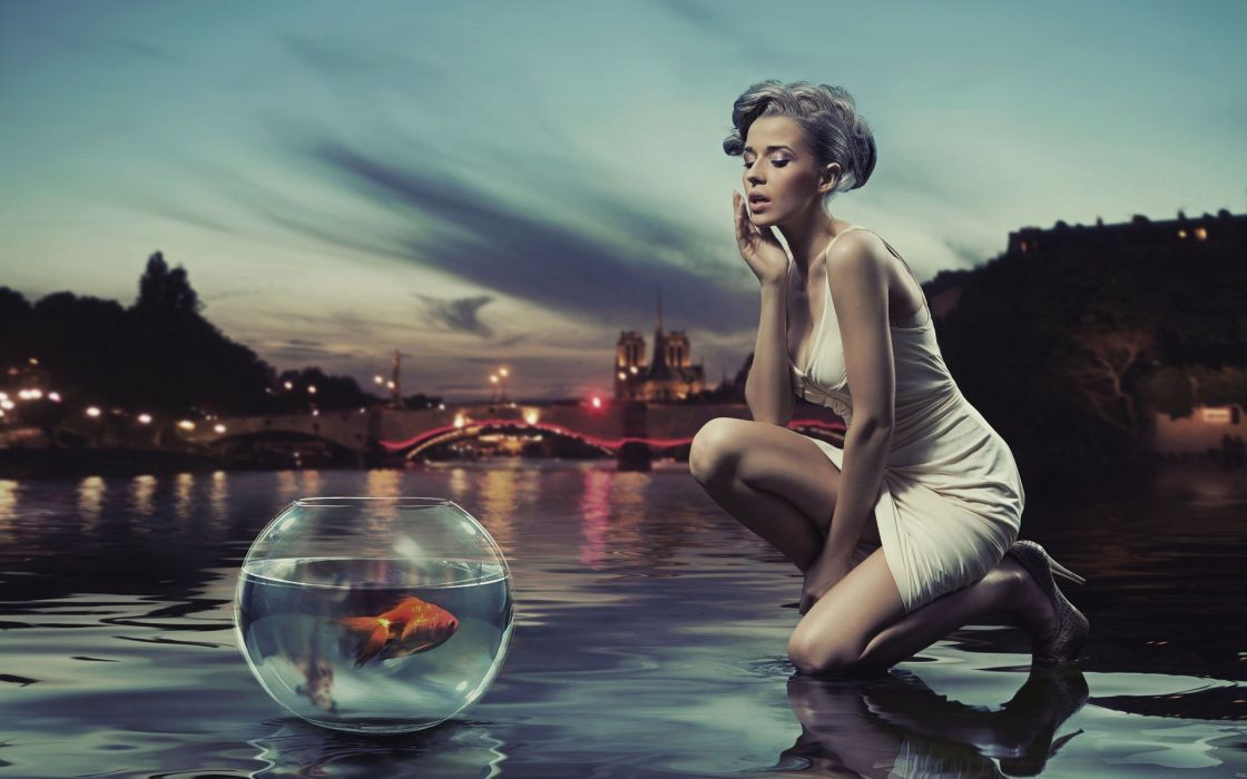 manipulation advertising products situation animals fishes glass bowl sphere globe gold water pool reflection skies clouds night lights women females girls models blonde babes style fashion wallpaper
