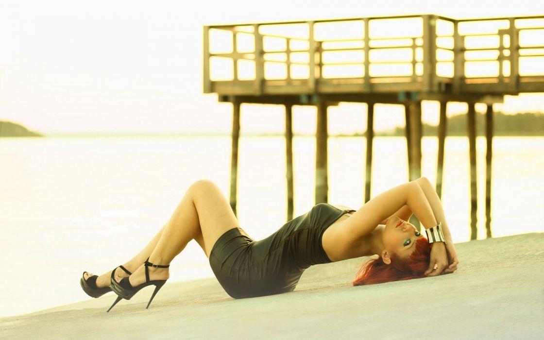 women females girls babes sexy sensual models style legs dress pose beaches sand redhead wallpaper