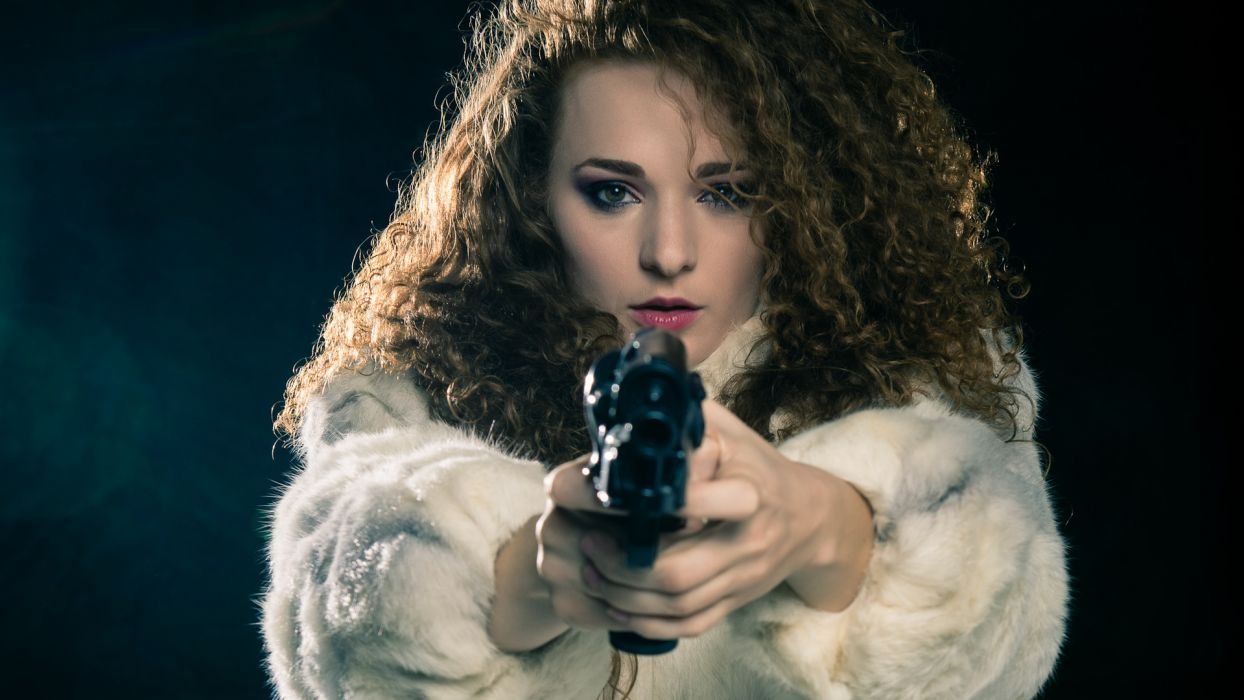 Cat-Hedlund Cat Hedlund weapons guns pistols pov action redhead women females girls babes hair face lips eyes sexy sensual models wallpaper