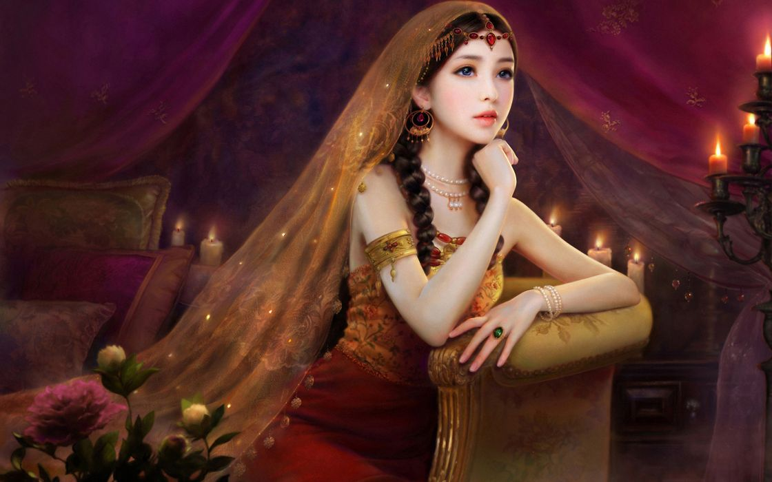 ruoxing-zhang ruoxing zhang cg digital digital-art fantasy asian oriental candles fire flames artistic art gowns dress jewelry fashion style flowers pale brunette women females girls sensual face eyes lips elegant wallpaper