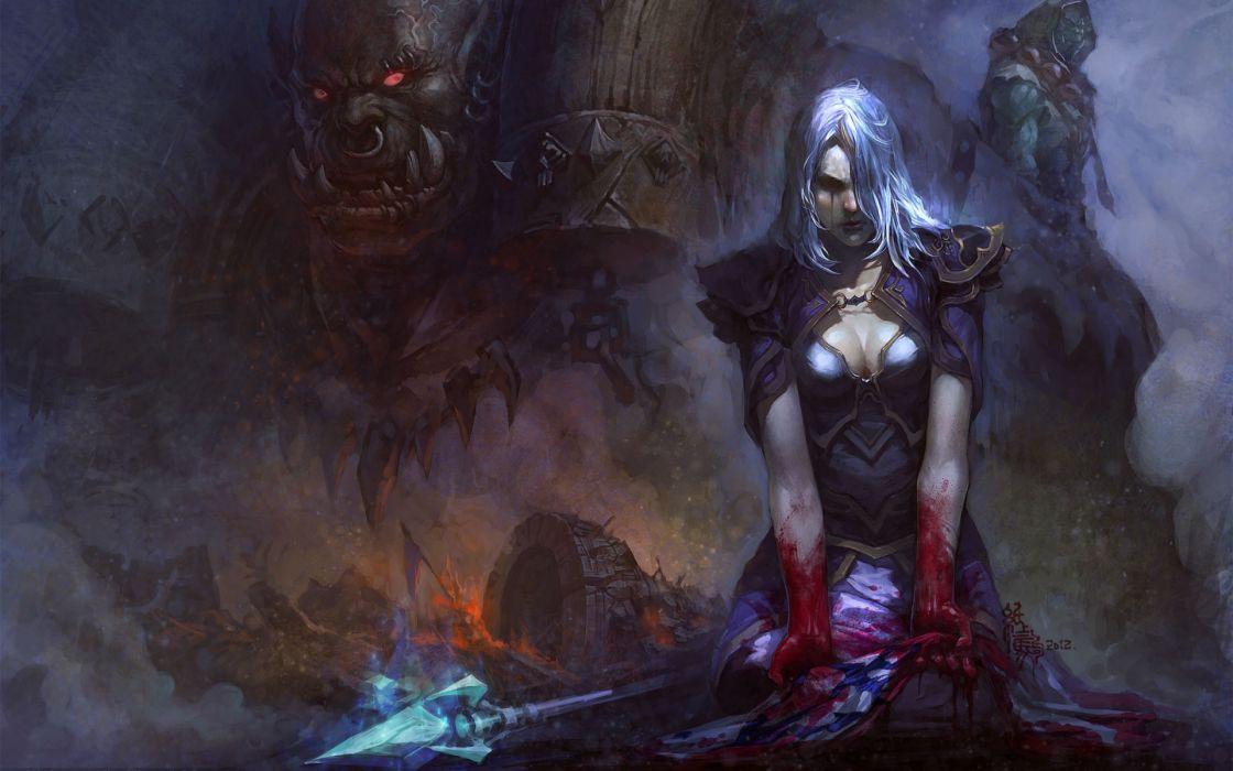 wow world warcraft world-of-warcraft warriors weapons dark monsters creatures demon dark wallpaper