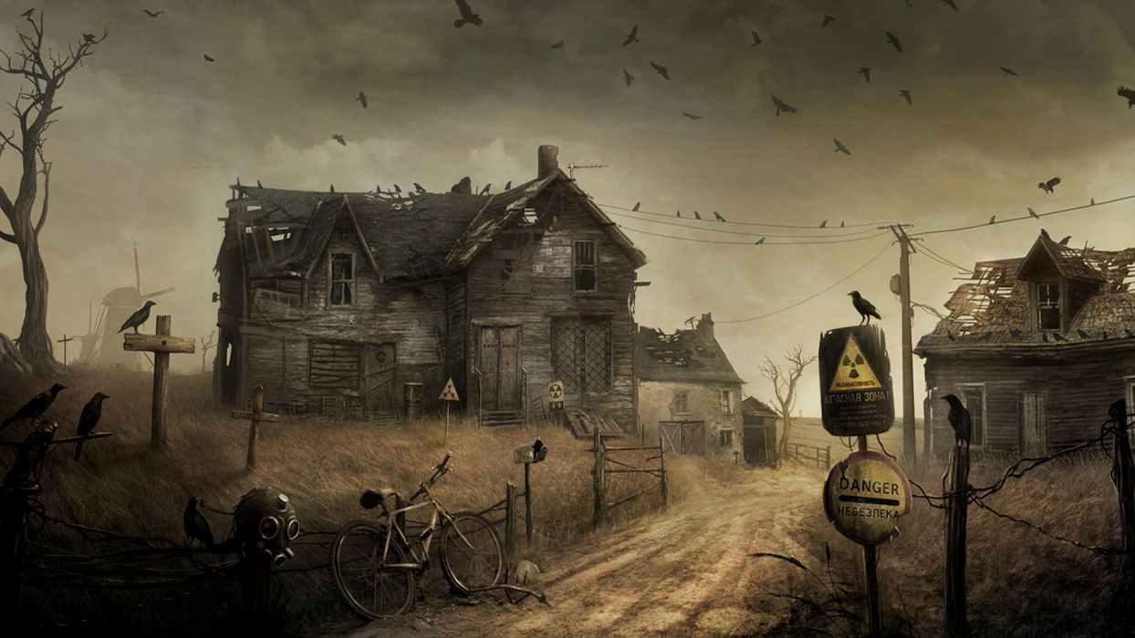 Apocalypse post apocalyptic radiation mask gas roads dark horror evil spooky creepy ruins halloween birds crows ravens bicycle houses haunted destruction wallpaper