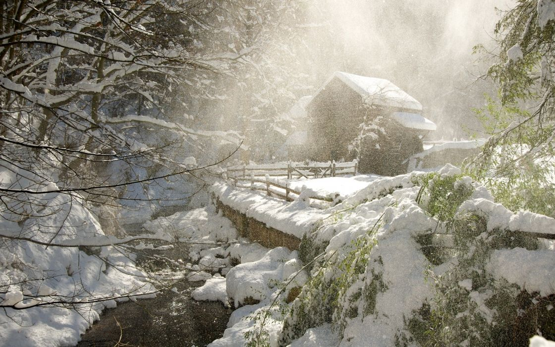 nature landscapes winter snow snowing snowfall snowflakes rivers streams trees forest seasons houses architecture fence sunlight wallpaper