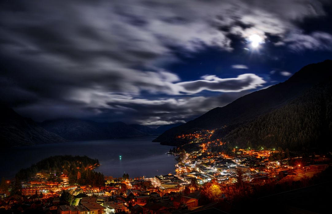 Zealand Queenstown cities architecture buildings harbor marina mountains sky skies clouds moon moonlight night lights hdr wallpaper