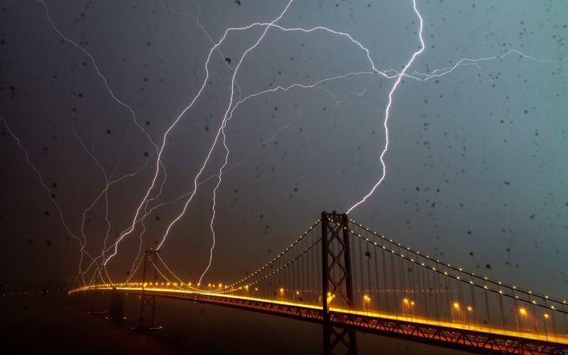nature storm rain drops lightning electricity bolt night lights hdr architecture bridges wallpaper