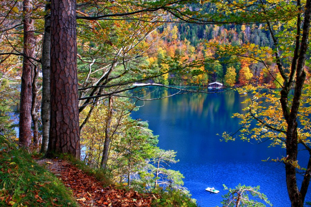 nature lakes trees forest leaves water reflection autumn fall seasons houses architecture landscapes wallpaper