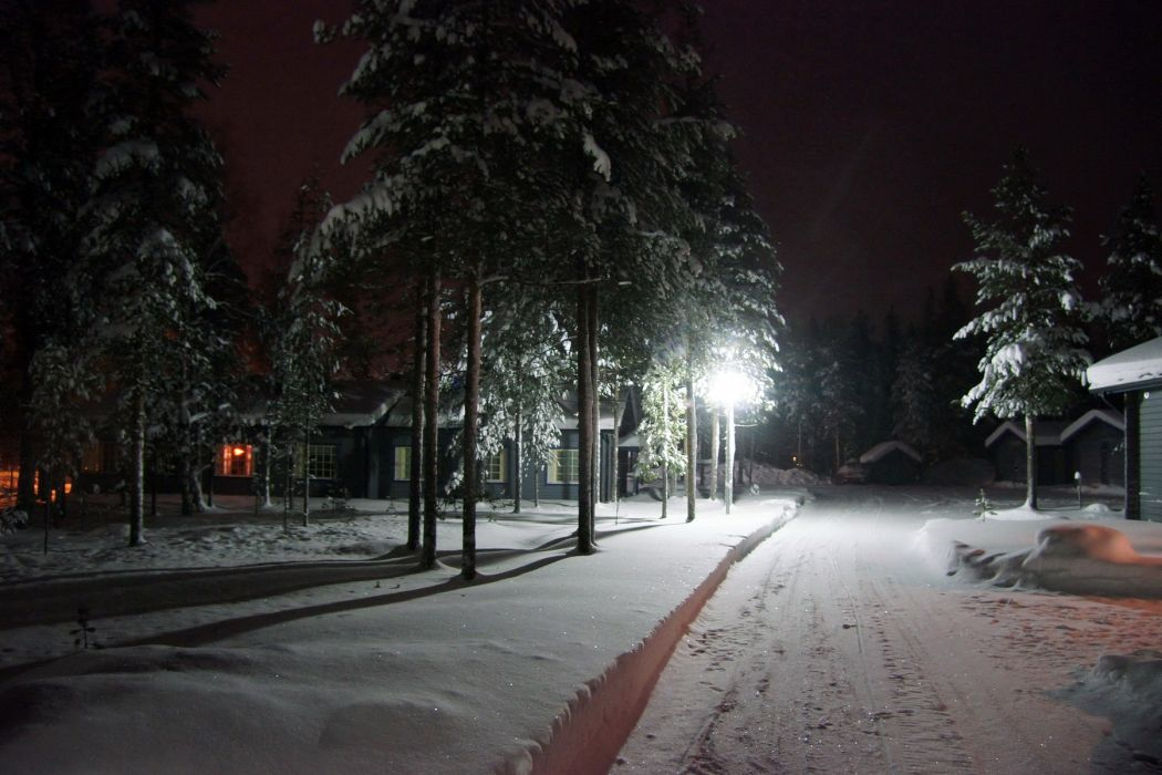 nature landscapes winter seasons snow roads houses architecture buildings houses night lights trees lamp wallpaper