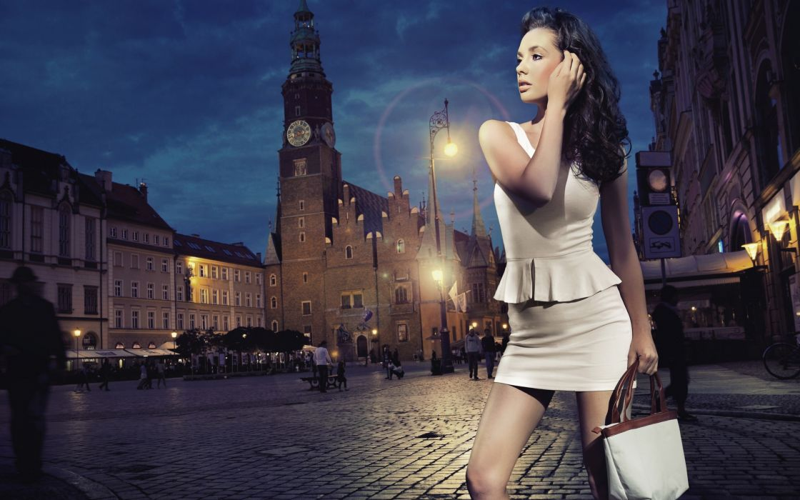 women females girls models babes brunette sexy sensual style fashion architecture buildings night lights people lamp wallpaper