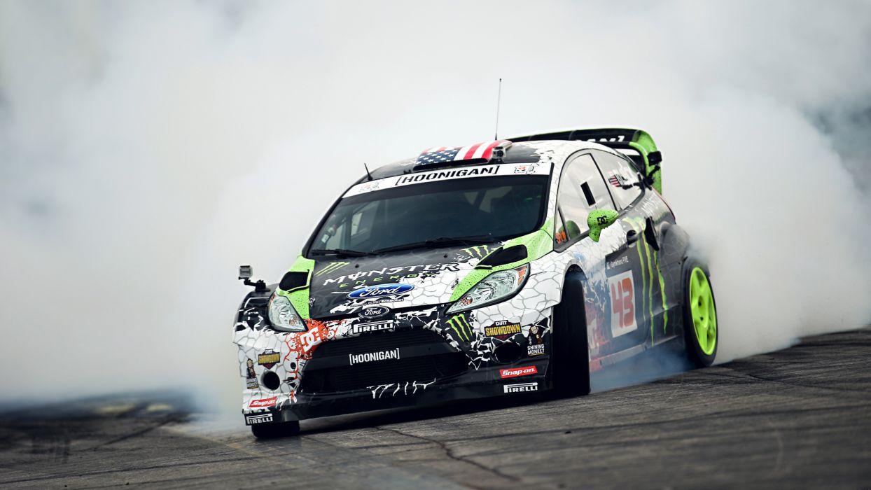 vehicles cars track drift smoke burn race tuning ford fiesta  wallpaper