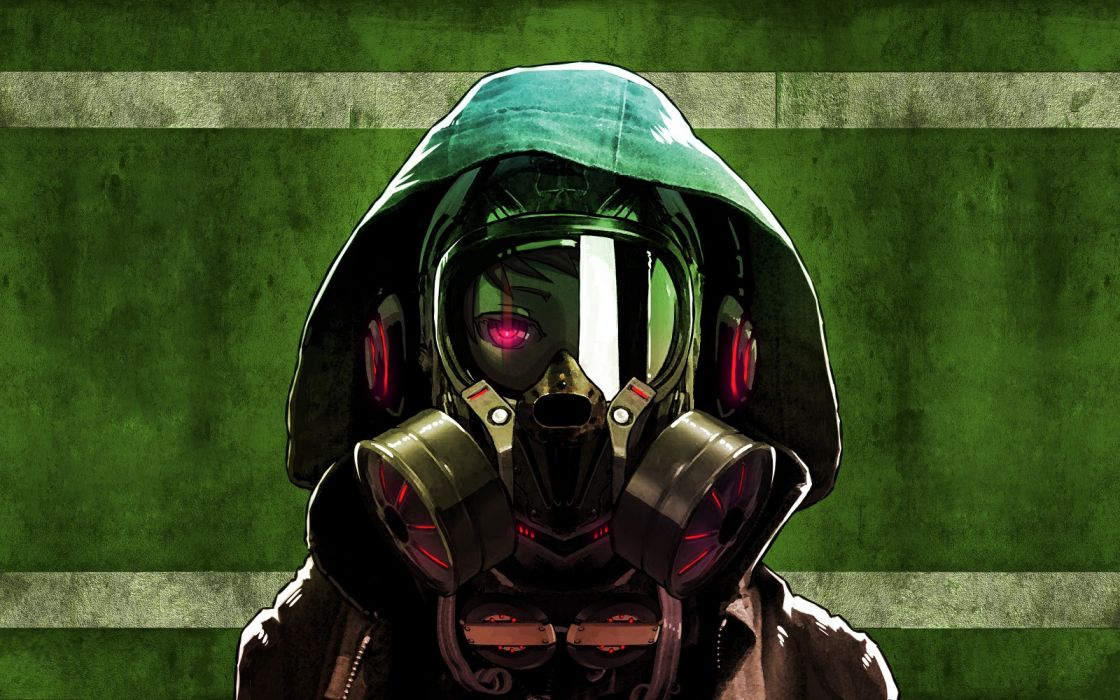 hipster headphones gas masks masks anime purple eyes gaz anime girls music dark eyes wallpaper