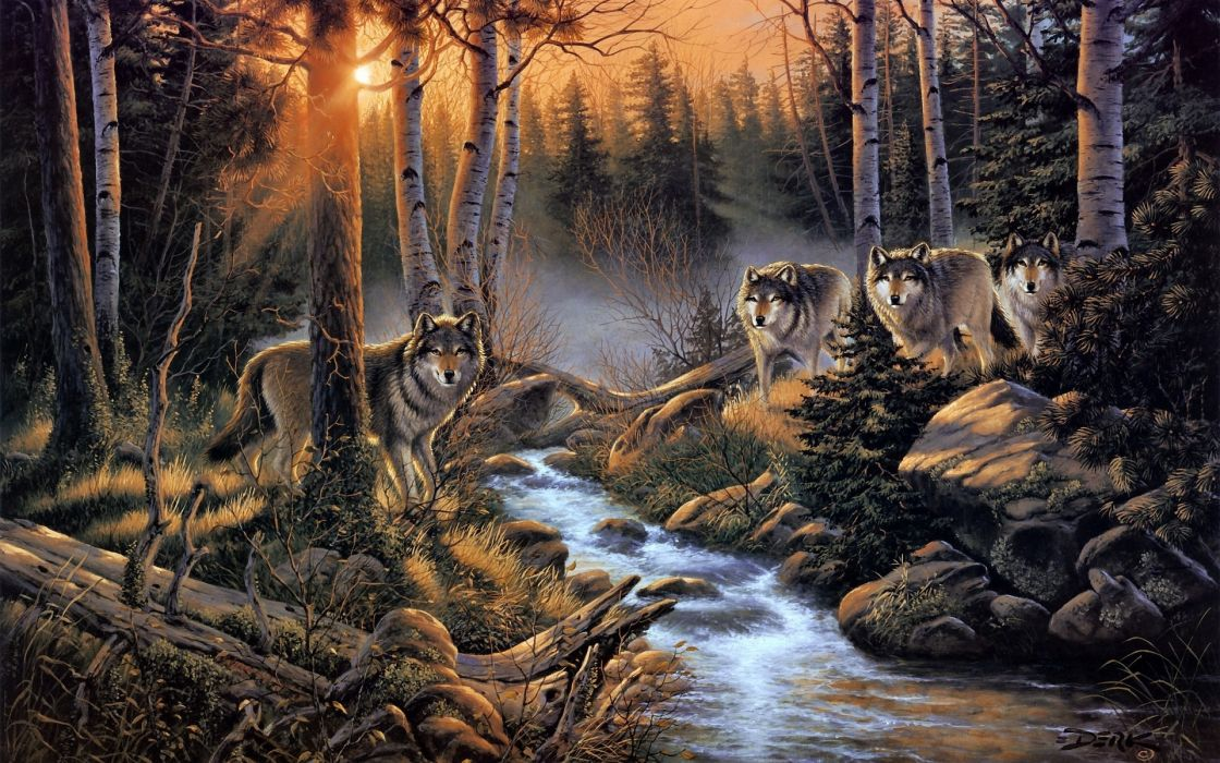wolves wolf paintings artistic art print landscapes nature rivers streams woods trees forests sunset sunrise predators wood rocks wallpaper