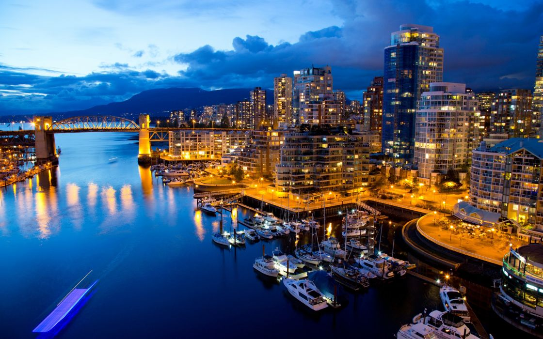 Vancouver canada cities hdr night lights architecture buildings water waterways marina harbor reflections vehicles boats sky skies clouds places wallpaper
