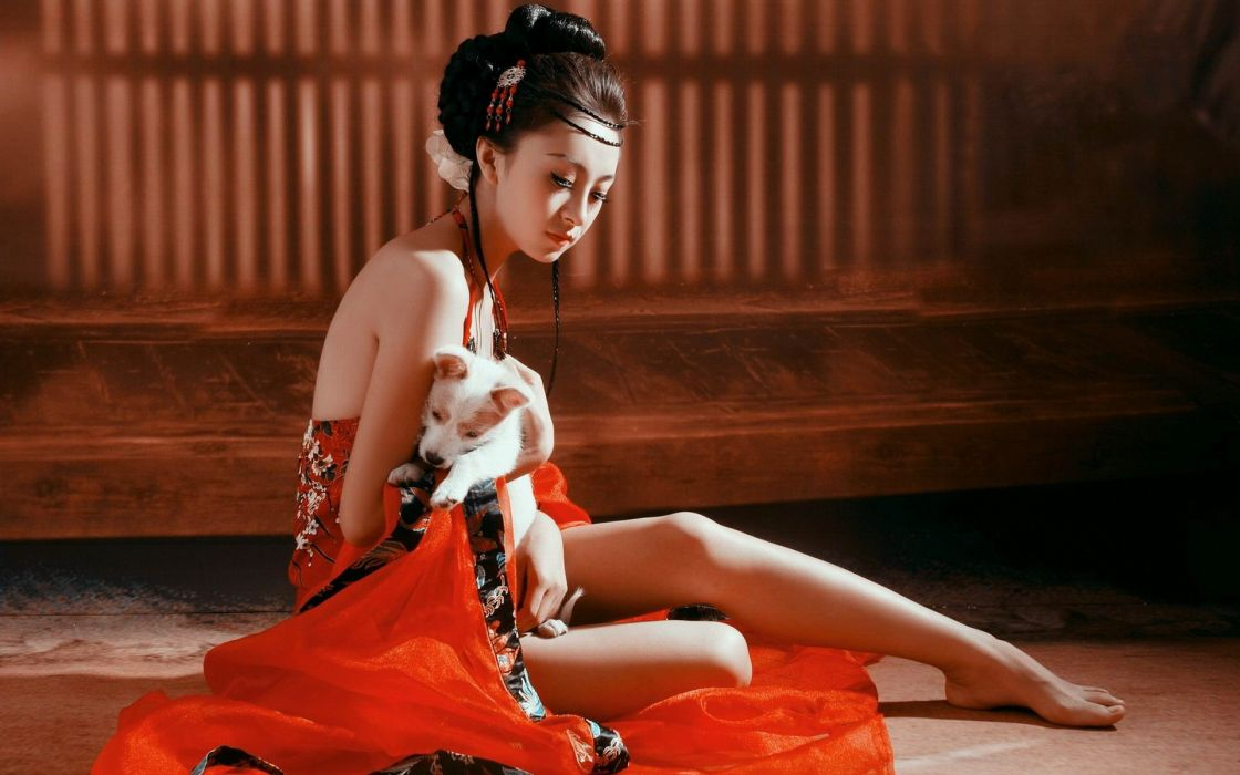 asian oriental kimono dress silk animals dogs legs women females girls babes sexy sensual models wallpaper