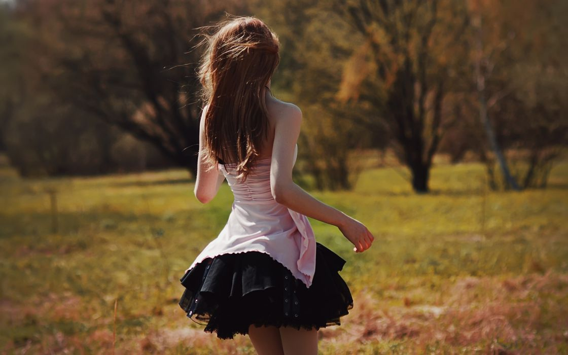 landscapes nature fields grass trees dress gown brunette mood emotion women females girls models babes sensual wallpaper