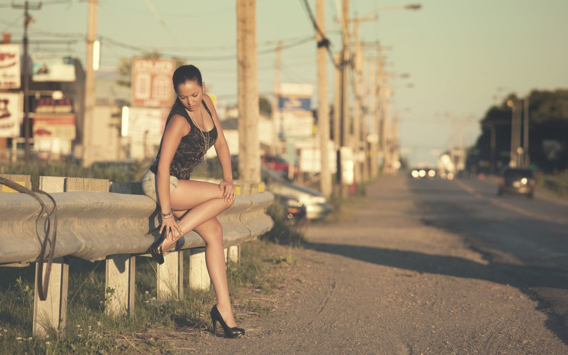 roads fence cities town architecture buildings vehicles cars legs brunette women females girls models babes style sexy sensual pose wallpaper