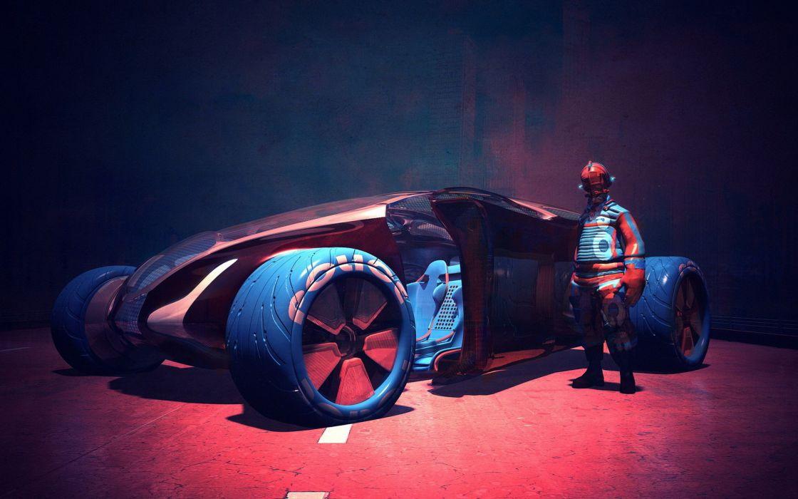neil maccormack neil-maccormack cg digital art artistic 3d concept people sci-fi science custom futuristic vehicles cars colors suit uniform helmet wheels rims exotic wallpaper