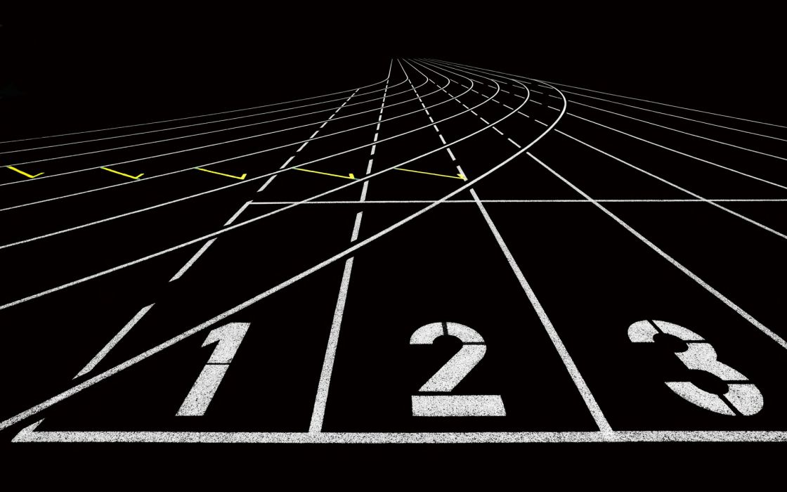numbers lines lanes black white run abstract wallpaper