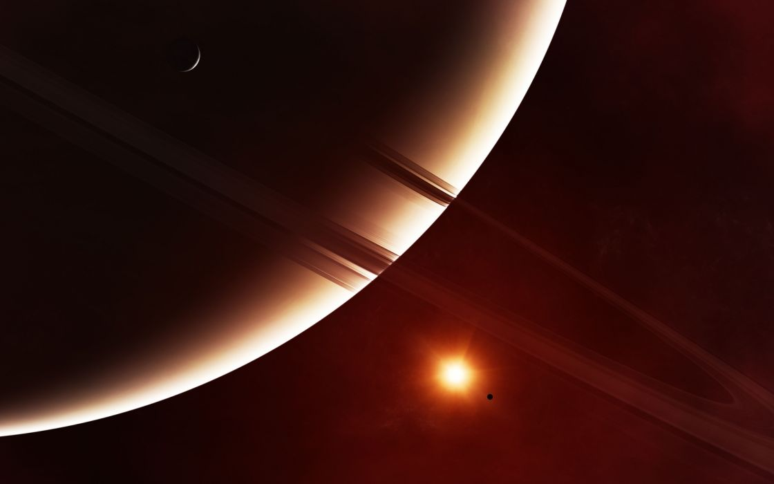 sci-fi science space universe planets moon ring sun cg digital art artistic wallpaper