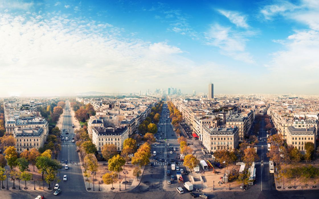 paris france cities architecture buildings skyscrapers sky clouds scenic view panorama autumn fall seasons trees cars vehicles traffic people photography wallpaper