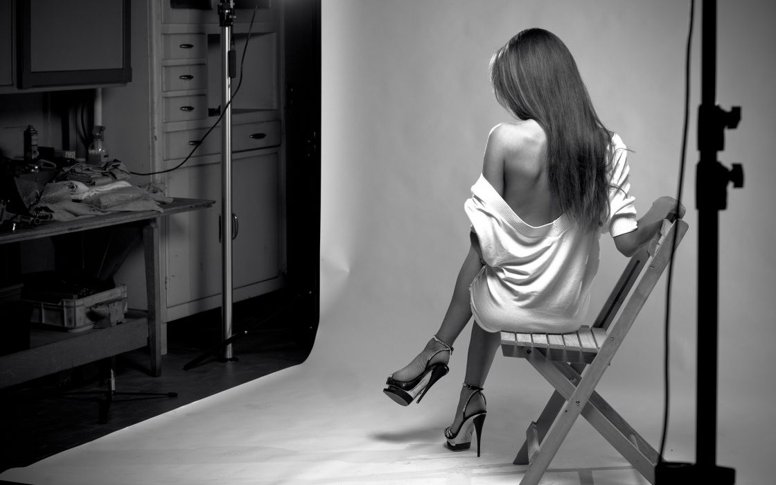 black white b/w chair furniture stage room lights dress style fashion shoulder brunette hair women females girls babes models sexy sensual photography wallpaper
