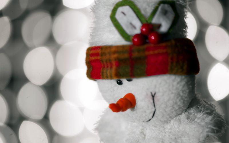 holidays christmas snowman snow man festive decoration noel lights twinkle wallpaper