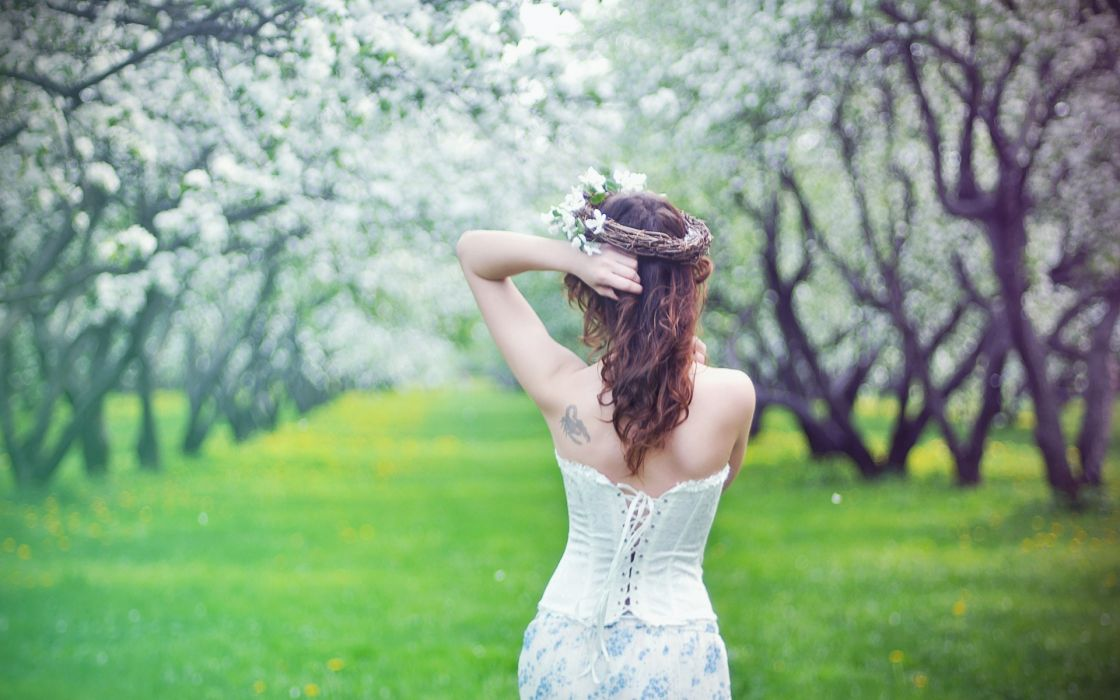 gothic spring seasons orchard trees blossoms flower grass photography dress witch occult dress corset shoulder pale people mood brunette tattoo women females girls models babes style sensual wallpaper
