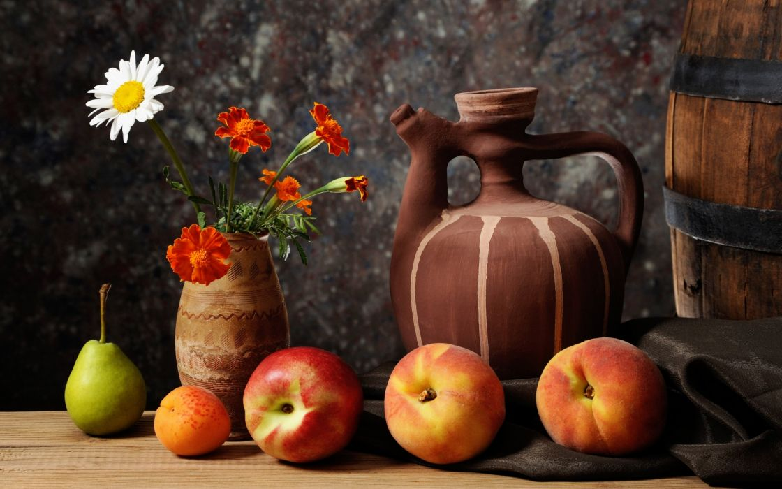 photography dishes jug pitcher fruit pears apricots nectarines peaches pitcher vase daisy marigold still life wallpaper
