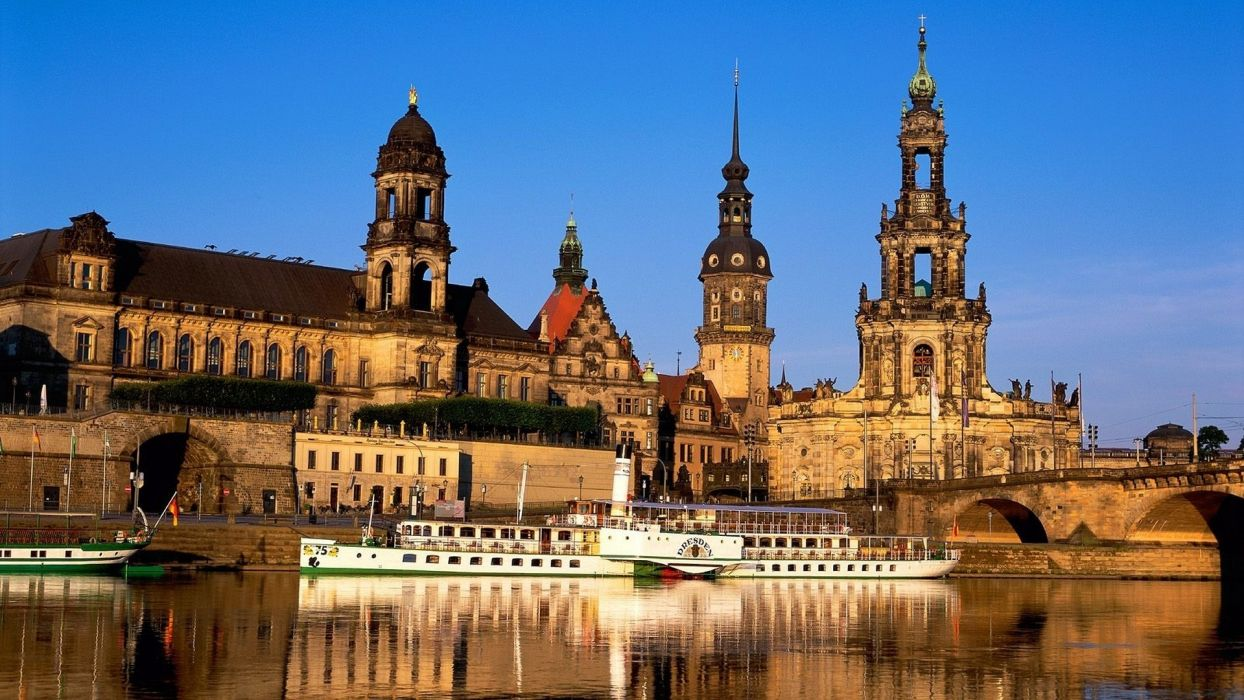 germany dresden vehicles boats ship river water reflection shine architecture buildings hdr photography wallpaper