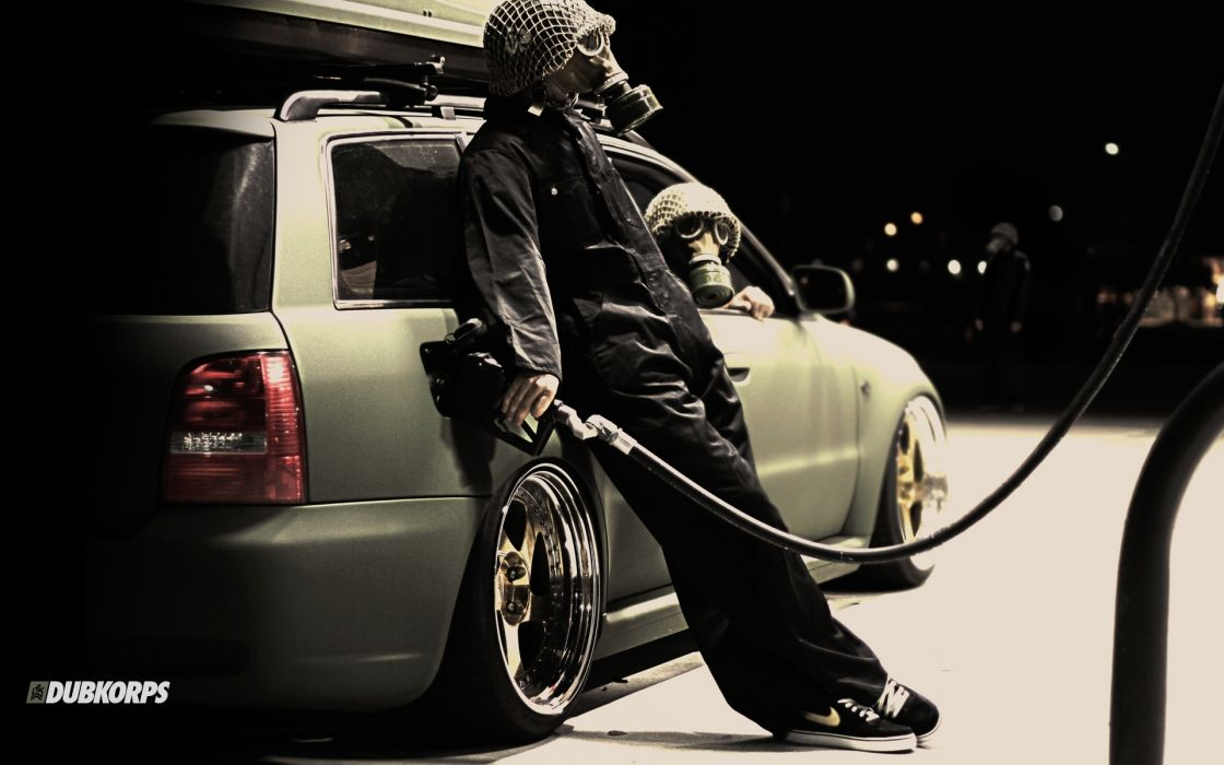 dubcorps dub vehicles cars tuning wheels lowrider apocalypse apocalyptic post mask gas uniform people dark creepy wallpaper