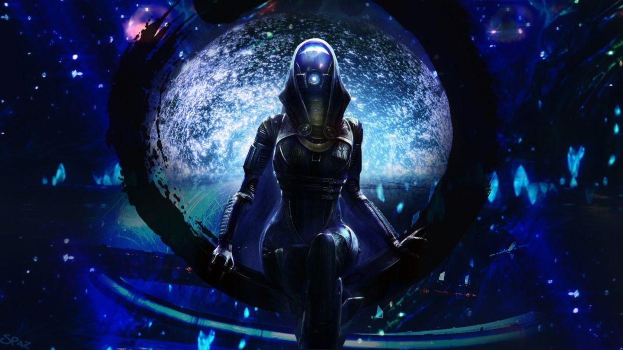 mass-effect mass effect sci-fi science futuristic alien dark uniform suit space stars window blue chair mask wallpaper