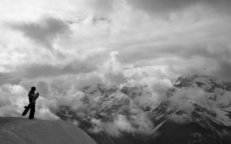 snowboard black white b/w landscape nature snow mountain sky clouds scenic people cliff photography wallpaper