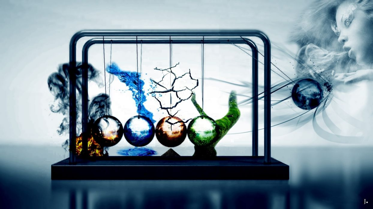 water abstract wood fire earth elements digital art artwork newtons cradle air four elements cg fantasy wome female girl wind wallpaper