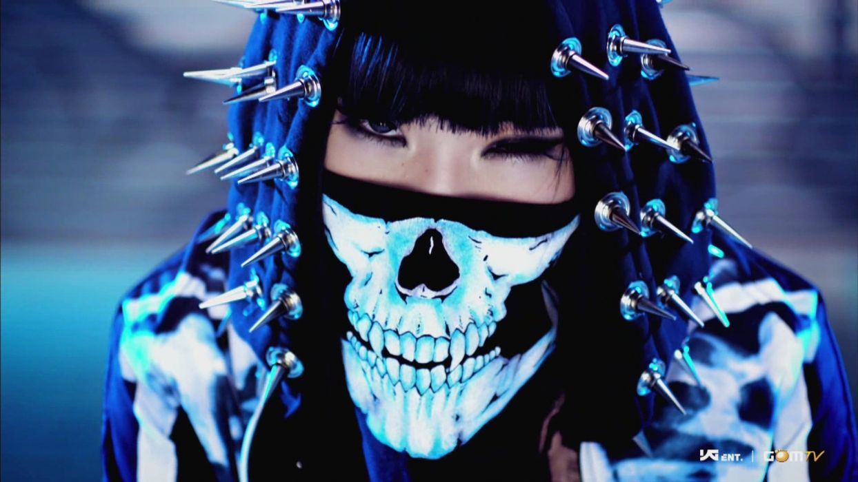 2ne1 minzy kpop mask skull spikes chrome hood hat fangs people asian oriental contrast women female girls black brunette eyes wallpaper