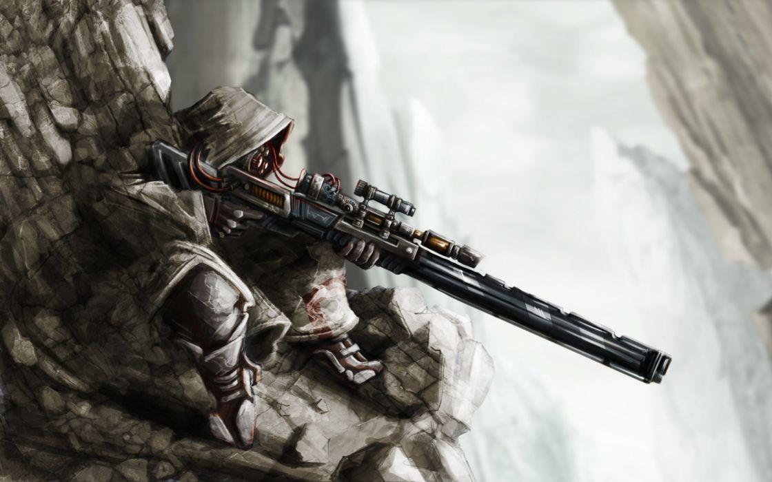 anime fantasy sniper warrior soldier weapons guns rifle scope mountains landscapes nuature snow dark war battle people wallpaper