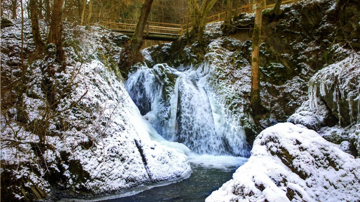 landscape nature waterfall snow trees forest scenic river stream rocks water bridge architecture wallpaper