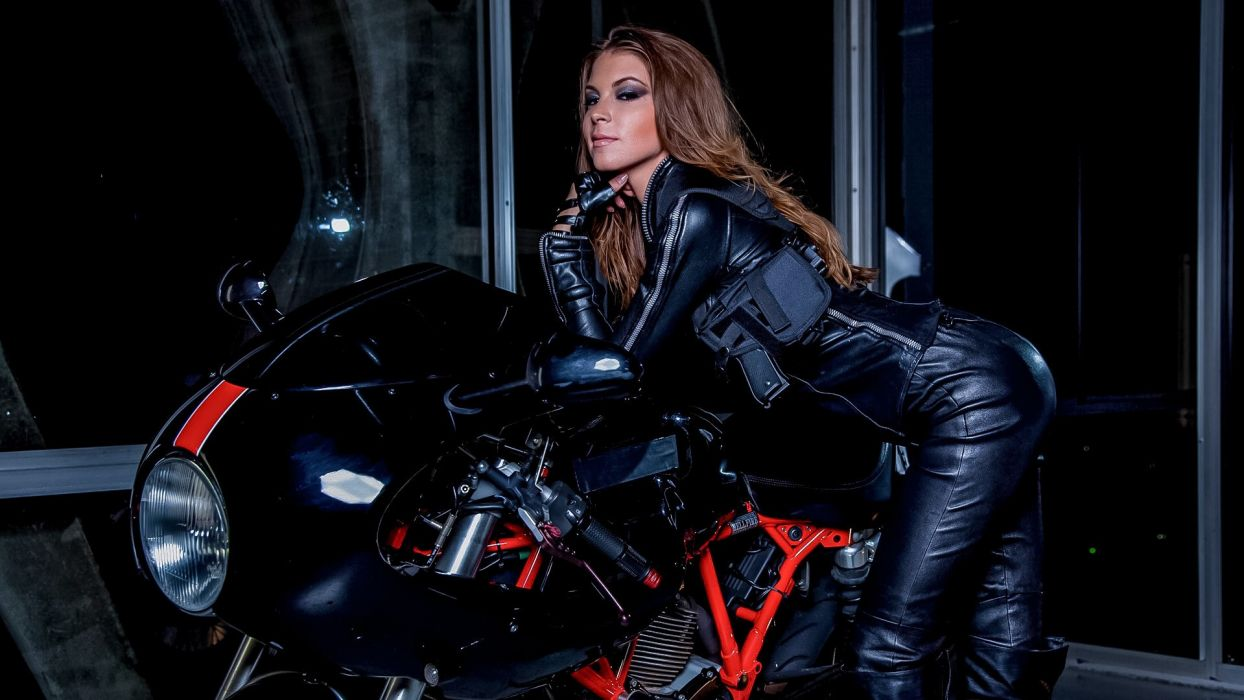 vehicles motorcycle motorbike bike brunette leather women female girl babes sexy sensual pose wallpaper