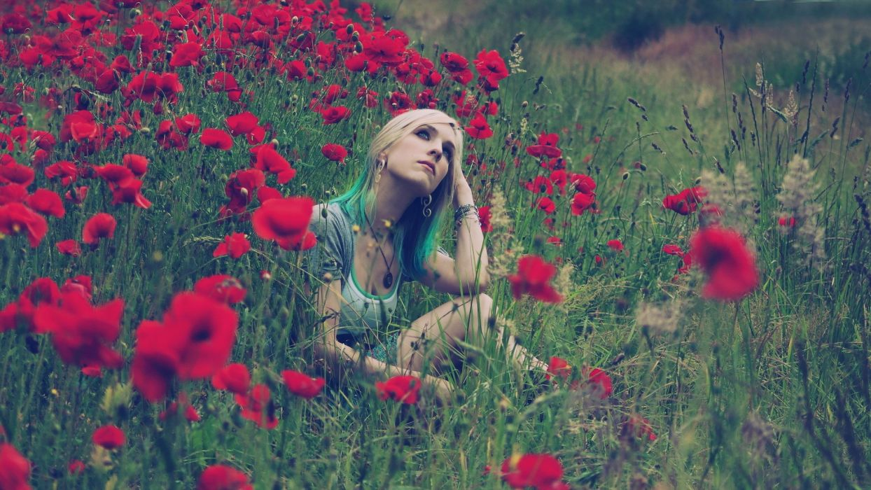landscapes nature field flower grass mood emotion blonde dye face pose red contrast women female girl babe sensual wallpaper