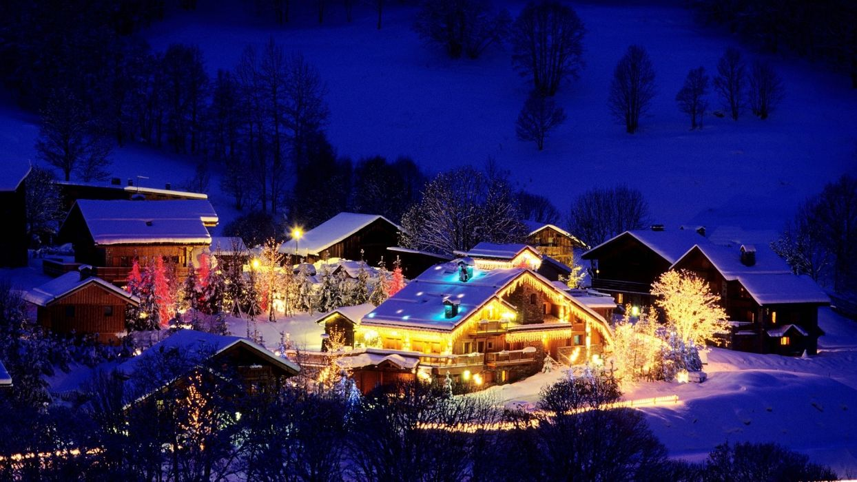 france holidays christmas night lights festive winter snow architecture building house mountains hill trees place wallpaper