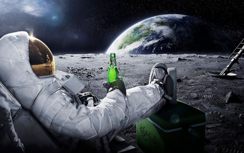 sci-fi science astronaut suit uniform mask visor boots drinks beer humor funny planets moon earth stars space vehicles spaceship spacecraft manipulation cg digital advertising products wallpaper